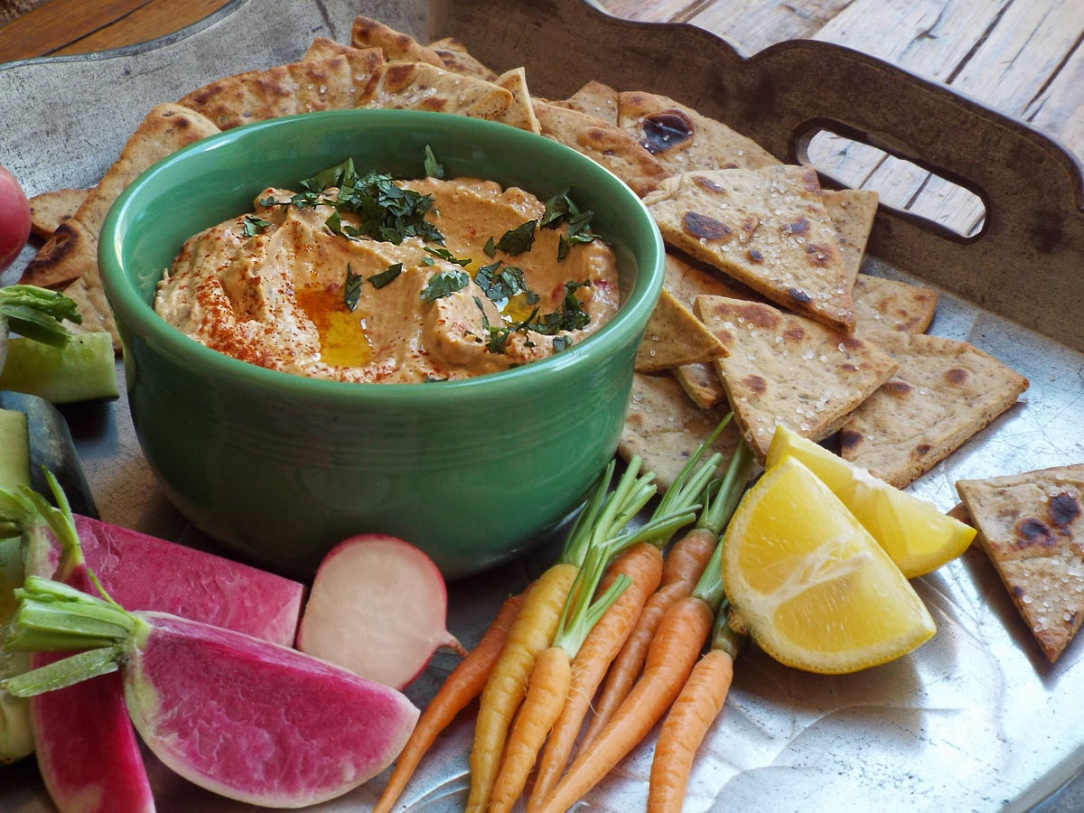 Spicy Hummus with Roasted Peppers Recipe