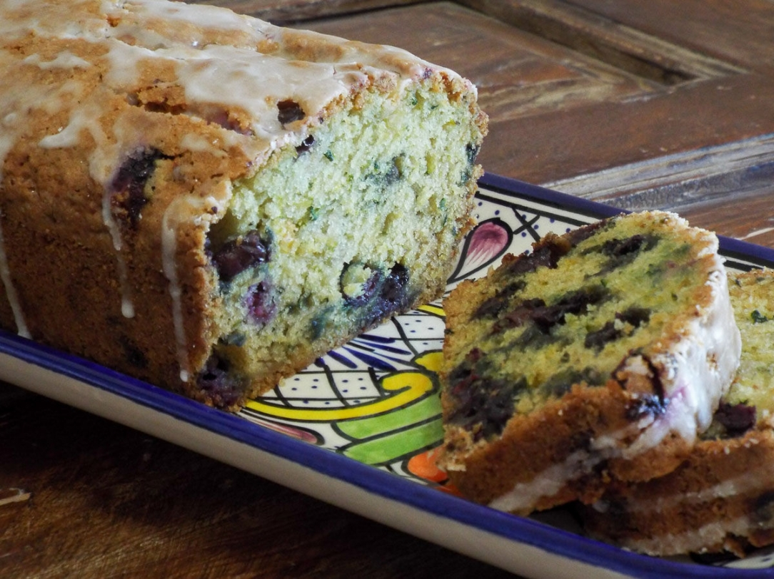 Zucchini Quick Bread with Blueberries and Lime