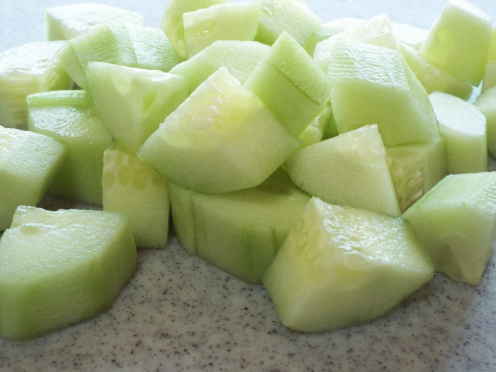 Diced Cucumbers for Olive Salad