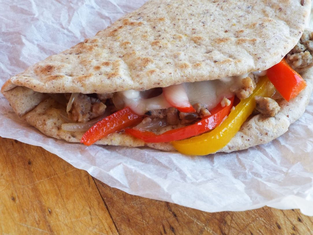Italian Sausage Flatbread Sandwich recipe