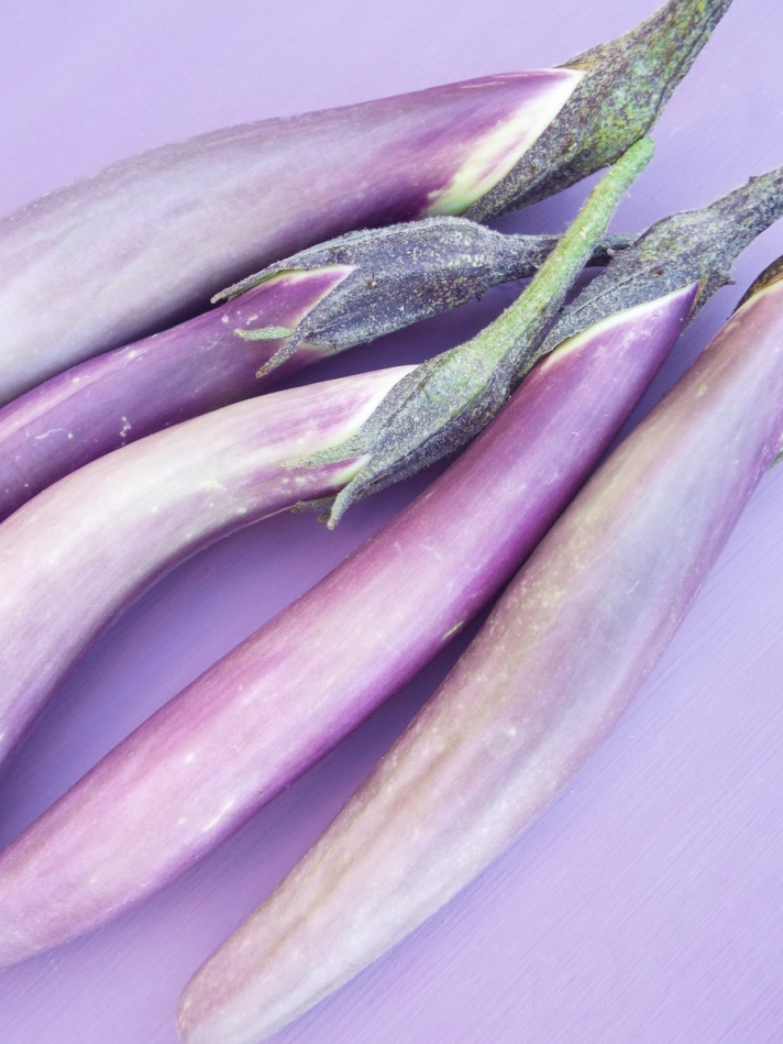 Japanese Eggplant for Garden Pasta with Lemon and Parmesan Cheese