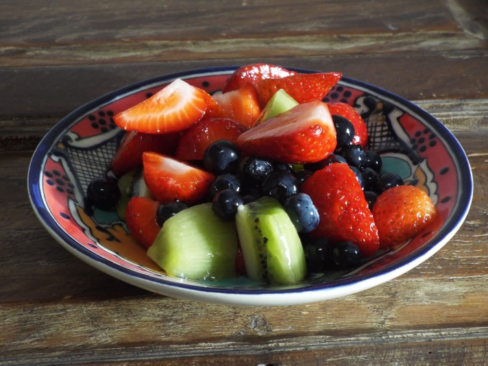 Strawberries, Blueberries, and Kiwifruit Salad