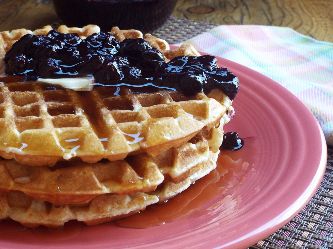 Waffles with Blueberry Sauce recipe