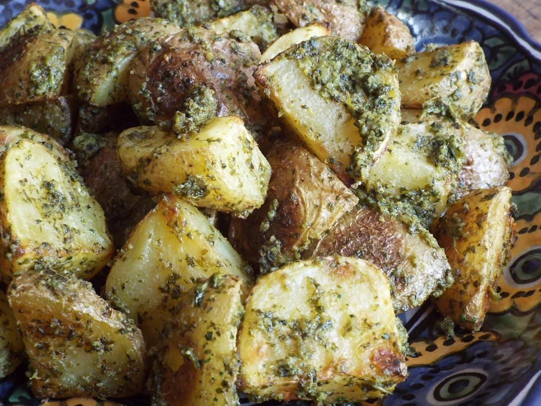 Roasted Potatoes with Cilantro Lime Pesto recipe